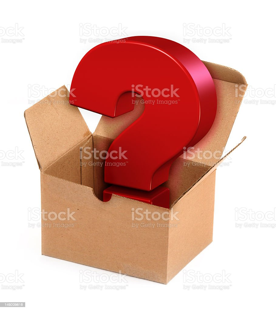 Red question mark in an open cardboard box stock photo