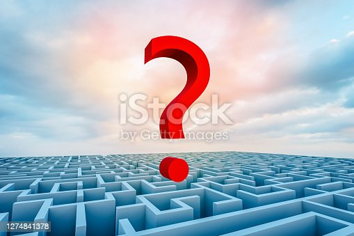 Red question mark over a blue maze against an evening sky. 3D rendering illustration Riddle, question, learning, imagination, ideas, cognition, mystery concepts.