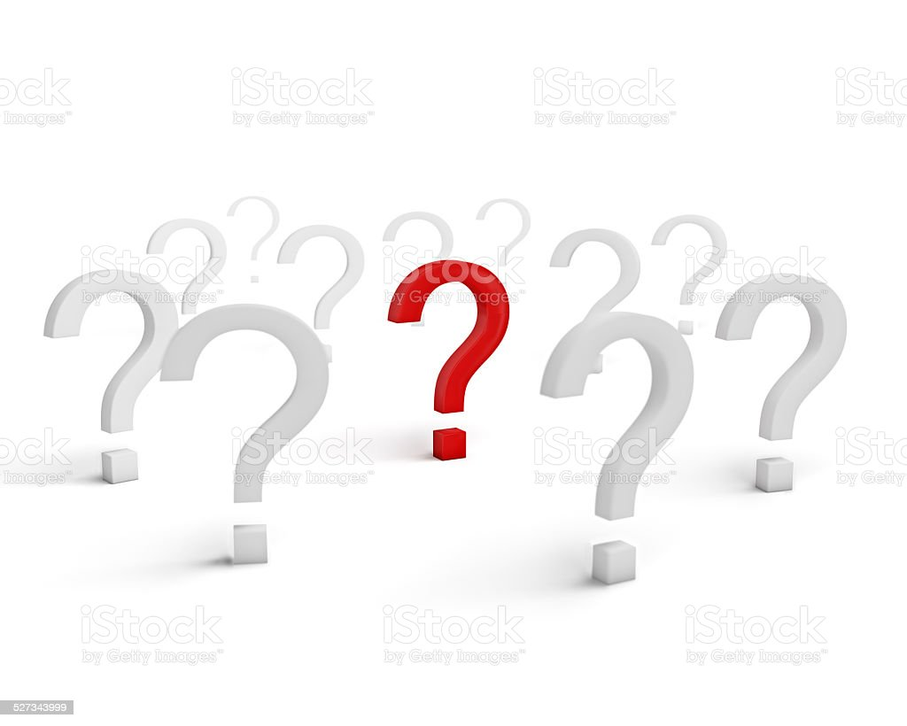 Red question symbol surrounded with white signs isolated stock photo