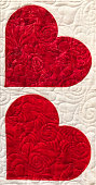 red quilted hearts