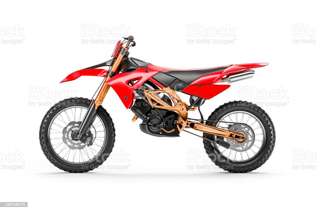 Red racing motorcycle for motocross by side view stock photo