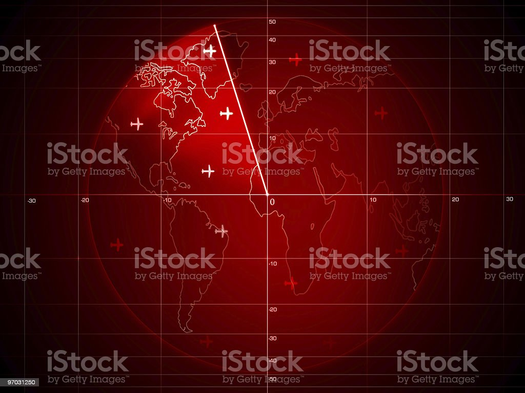 Red Radar screen with map of the world stock photo
