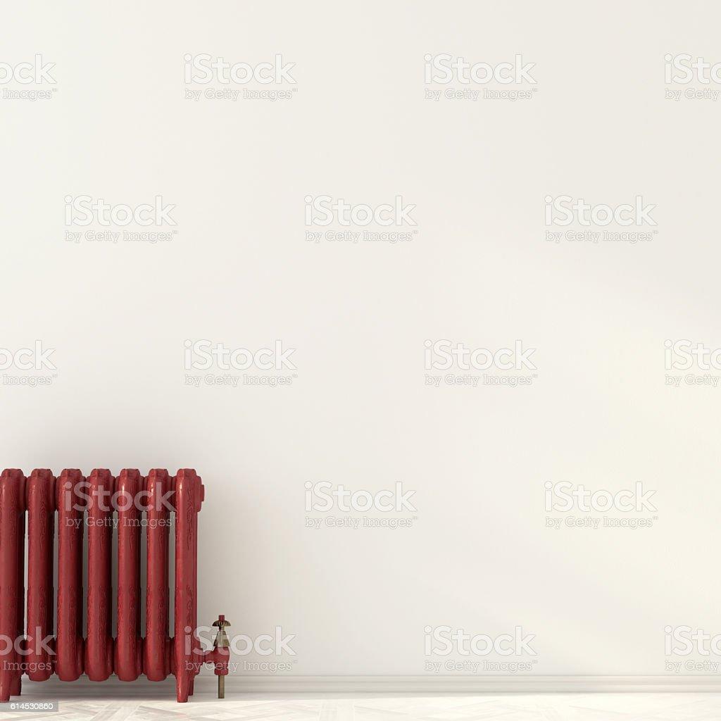 Red radiator near a white wall – Foto
