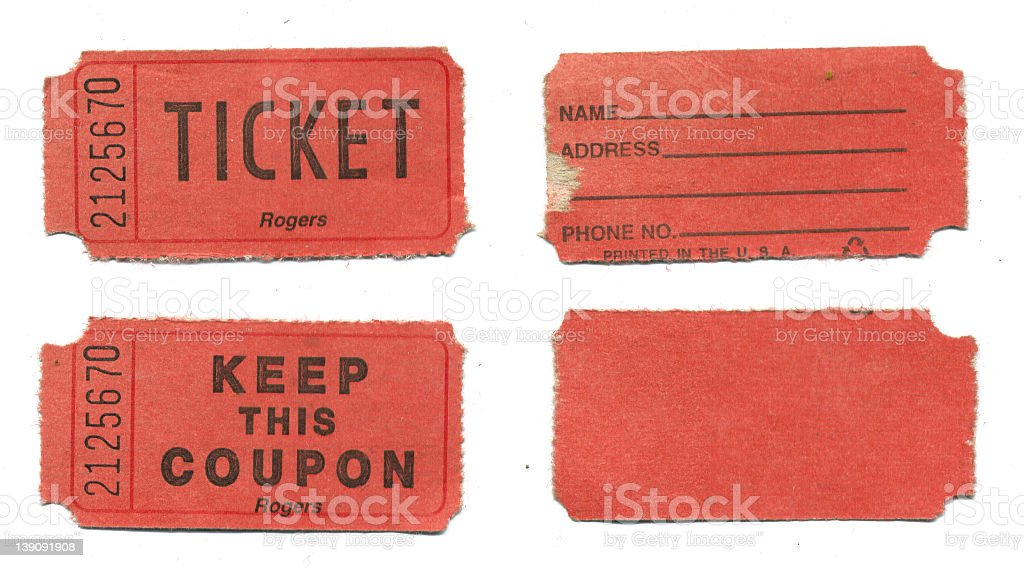 red raffle tickets on white background stock photo