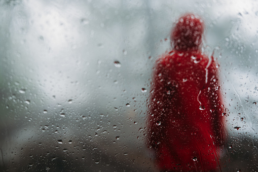 Red Raincoat Girl Stock Photo - Download Image Now