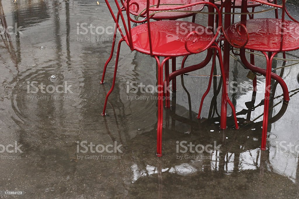 red rainy chairs royalty-free stock photo
