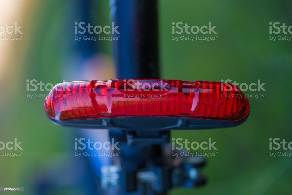 Red rear bicycle lamp foto de stock libre de derechos