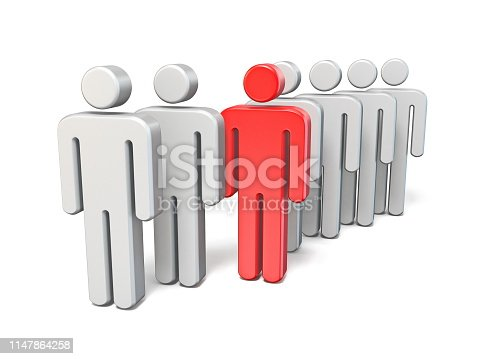 istock Red rebel man in line of same people 3D 1147864258