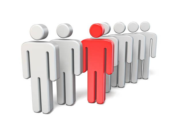 Red rebel man in line of same people 3D stock photo