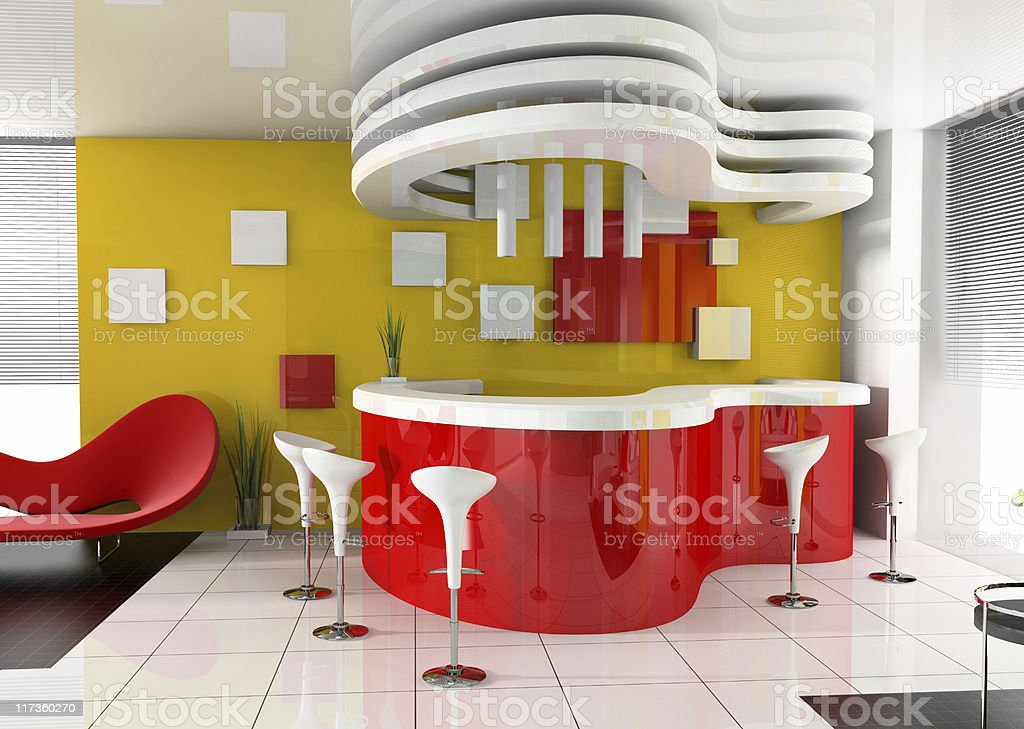 Red reception area located in a modern hotel royalty-free stock photo