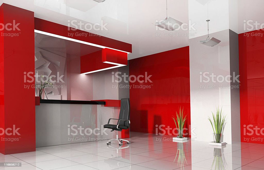 Red reception in a modern hotel royalty-free stock photo