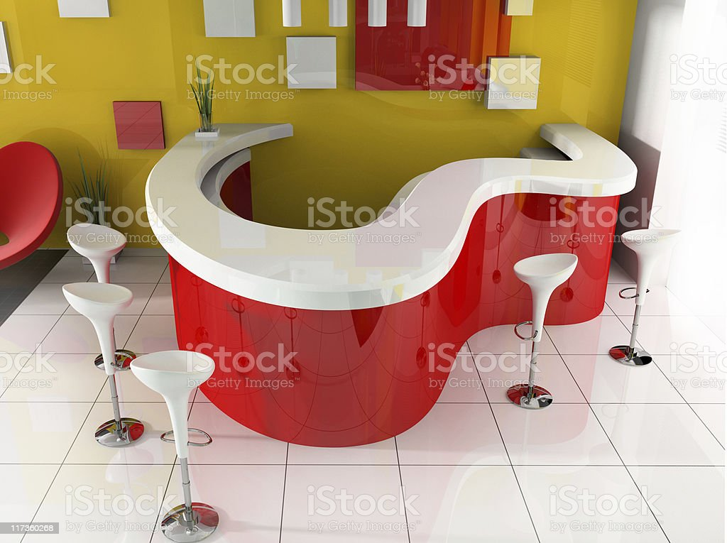 Red reception in modern hotel royalty-free stock photo