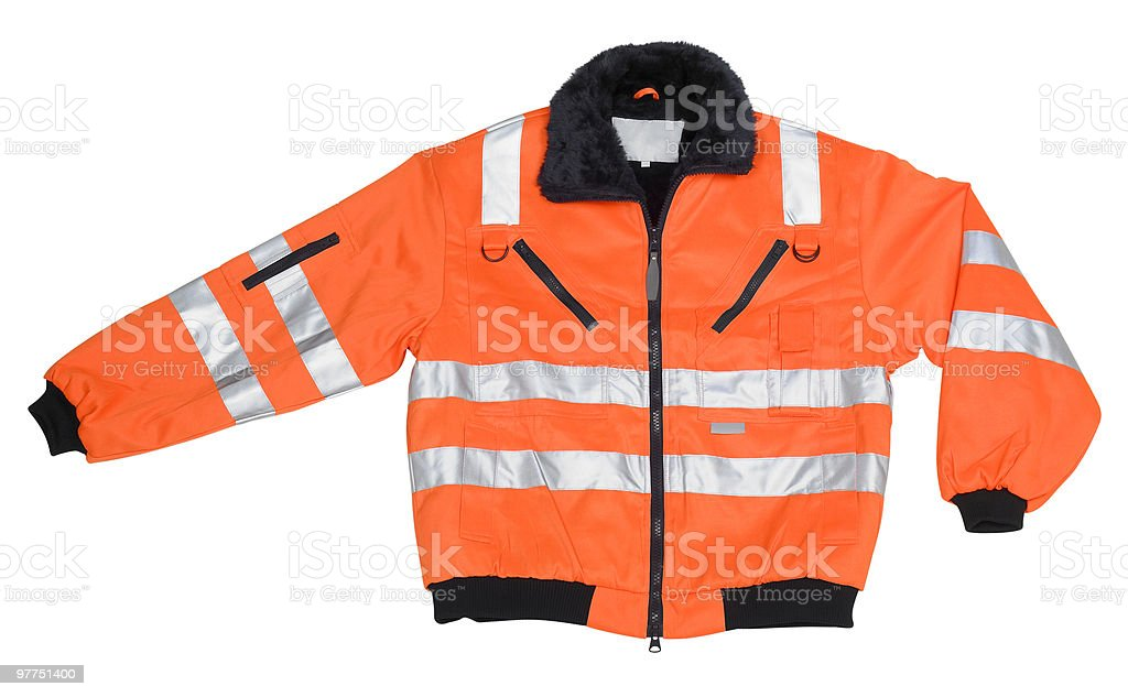 red reflective coat stock photo