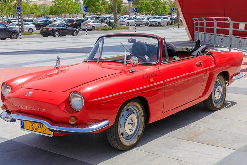 BEER-SHEBA, ISRAEL - JUN 07, 2019: Red Renault Caravelle car of year 1967 at motorshow in Beer-Sheba