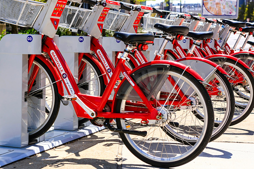 Red Rental Bicycles In Downtown Nashville Tennessee Stock Photo - Download Image Now