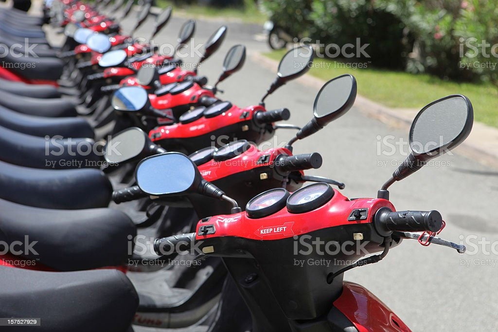 Red Rental Mopeds and Scooters stock photo