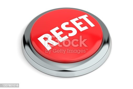 Red Reset Button Isolated on White Background 3D Render