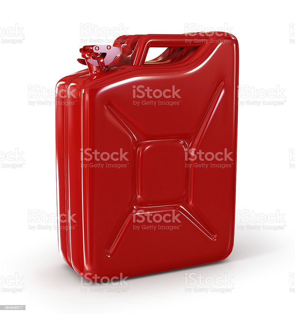 Red retro jerrican isolated stock photo