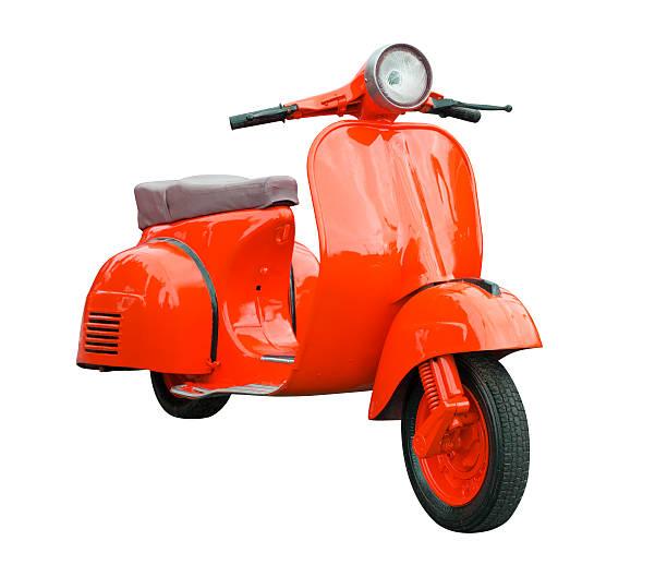 rojo retro motorcycle aislado en blanco - vintage vespa fotografías e imágenes de stock