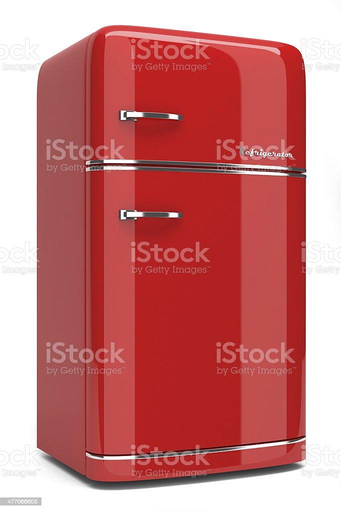 Red retro refrigerator stock photo