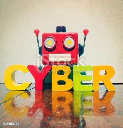 istock red retro robot head on the word 908450174