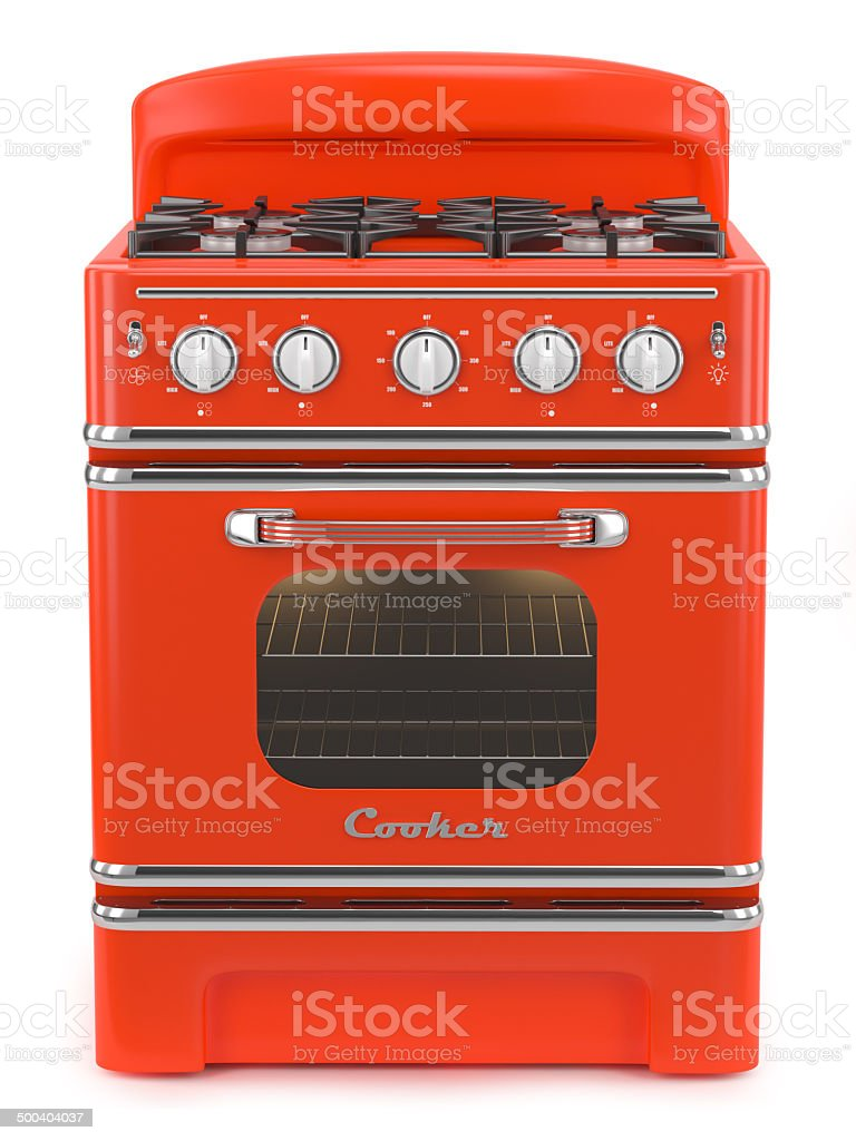 Red retro stove stock photo