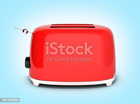 istock Red retro toaster side view on blue gradient background 3d 651346630