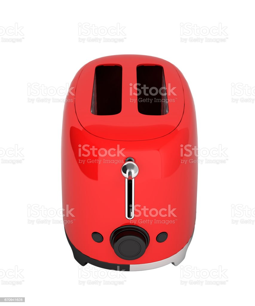 Red Retro Toaster Without Shadow On White Background 3d