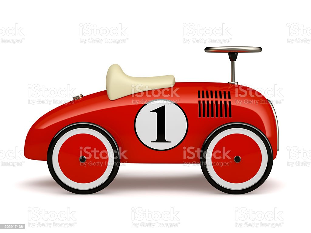 Red retro toy car number one isolated on white background stock photo