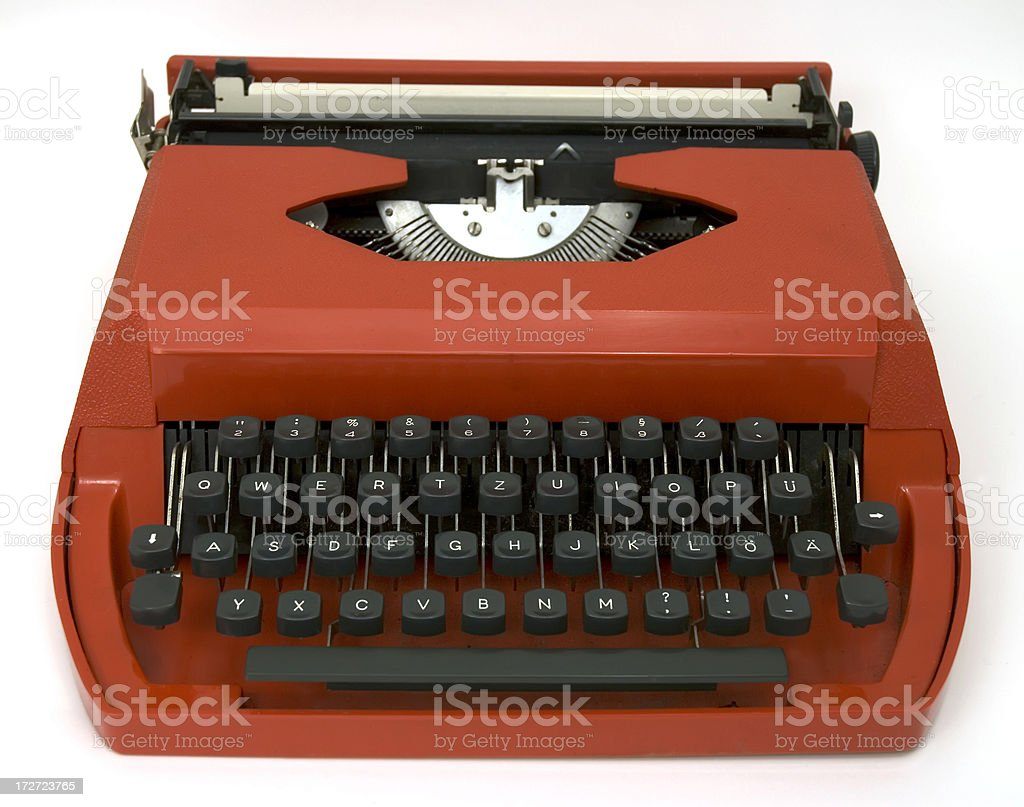 Retro style red manual typewriter from 1970\'s.