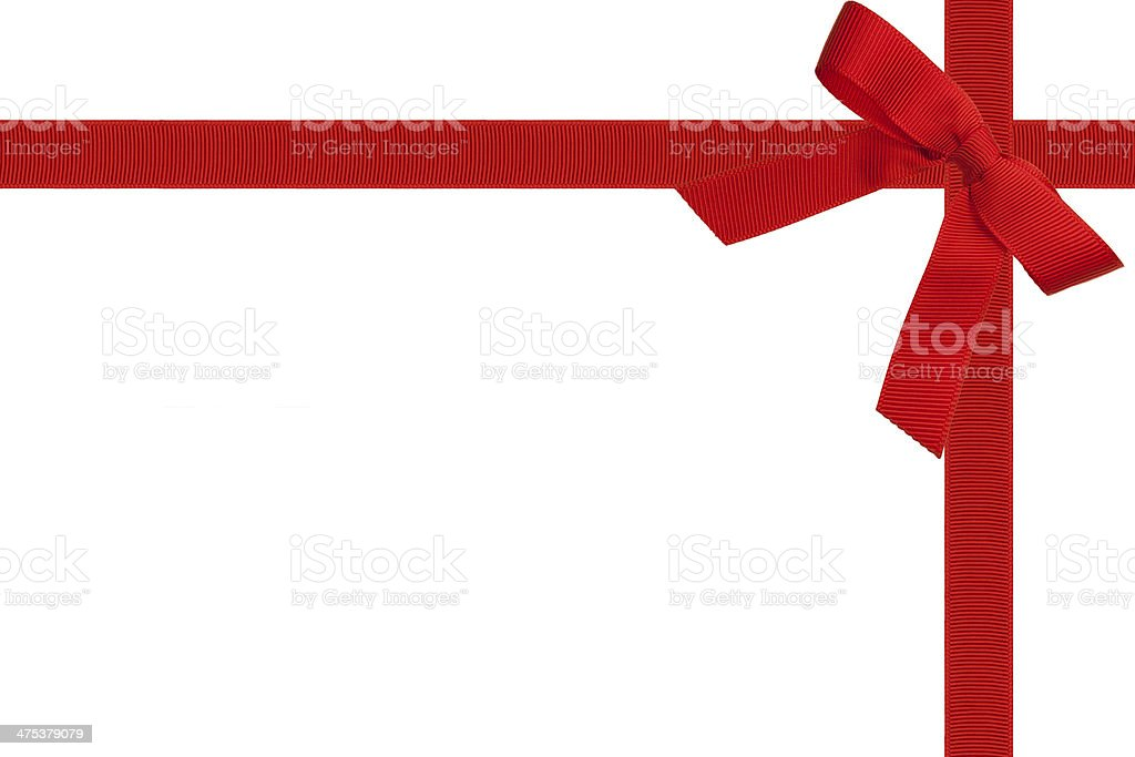 Red Ribbon And Bow On White stock photo