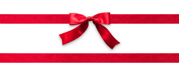 red ribbon band stripe or satin fabric bow isolated on white background with clipping path for banner design, greeting card and christmas gift decoration - banner web foto e immagini stock