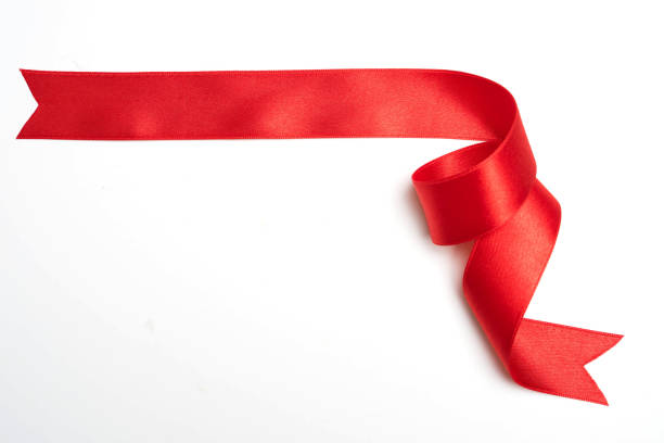 red ribbon banner on white background - ribbon стоковые фото и изображения