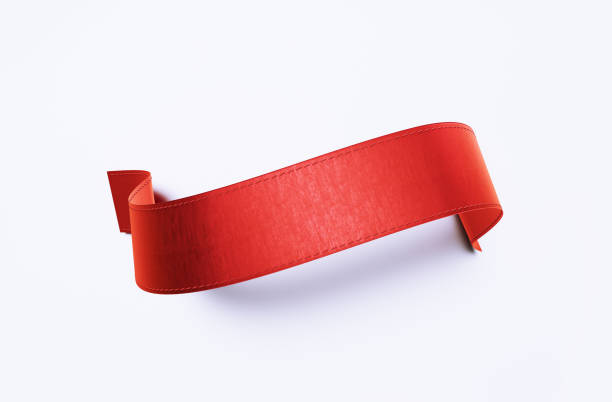 red ribbon banner on white background - award ribbon stock photos and pictures