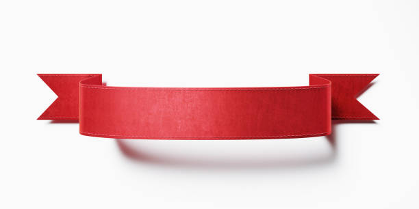 bandeira vermelha da fita no fundo branco - bandeira - fotografias e filmes do acervo