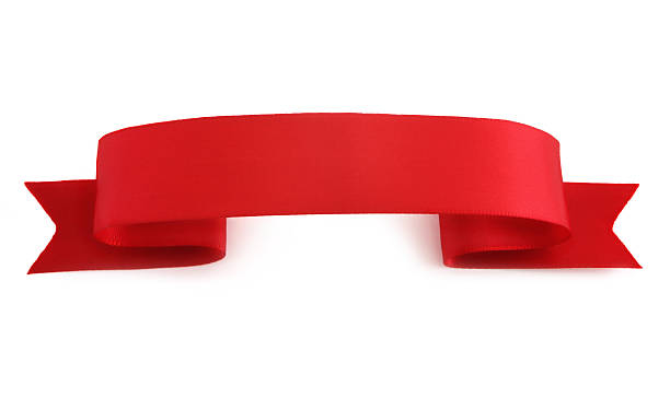 Red Ribbon banner template on white background stock photo
