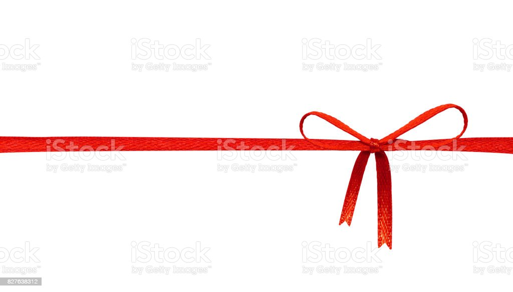 Red ribbon bow isolated on white background. Celebration label for your design. ( Clipping paths object ) stock photo