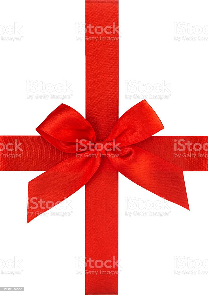 Red ribbon bow isolated on white Holidays gift wrapping stock photo