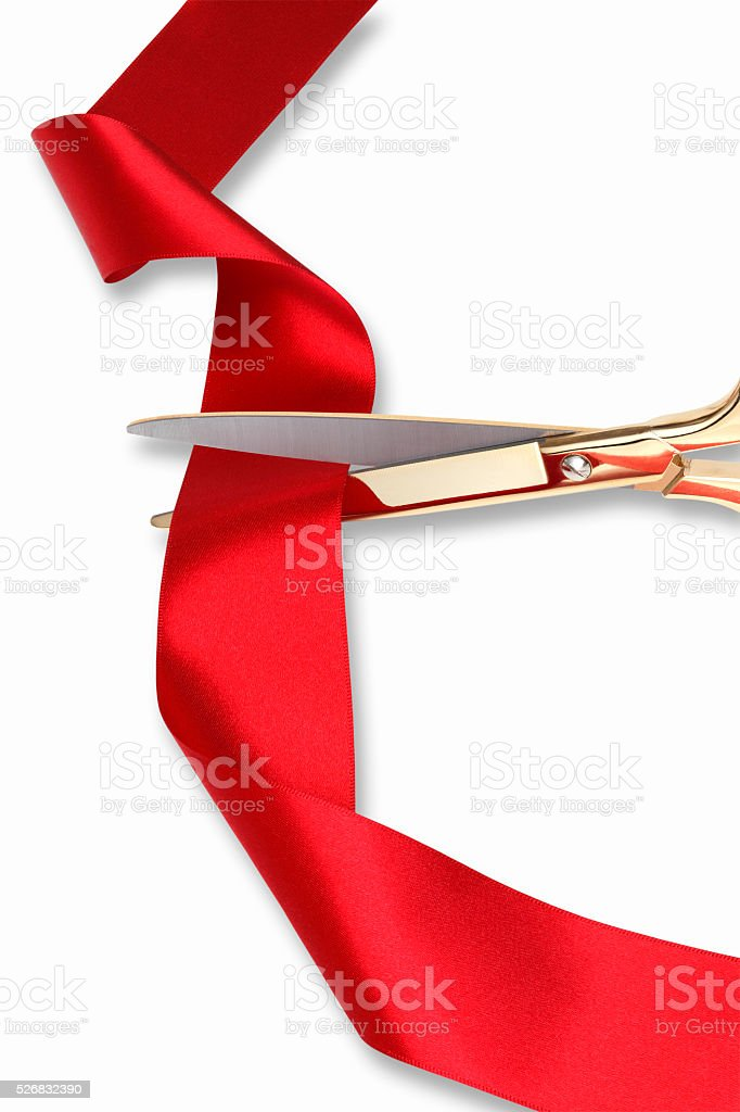 Red Ribbon Cutting Ceremony/with clipping path stock photo