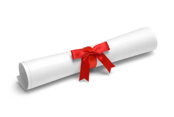 red ribbon diploma - diploma stock photos and pictures