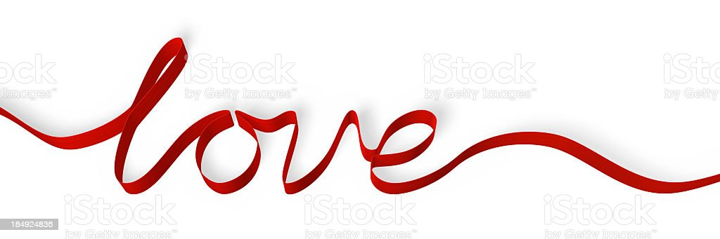 Red ribbon forming the word 'love', isolated on white royalty-free stock photo