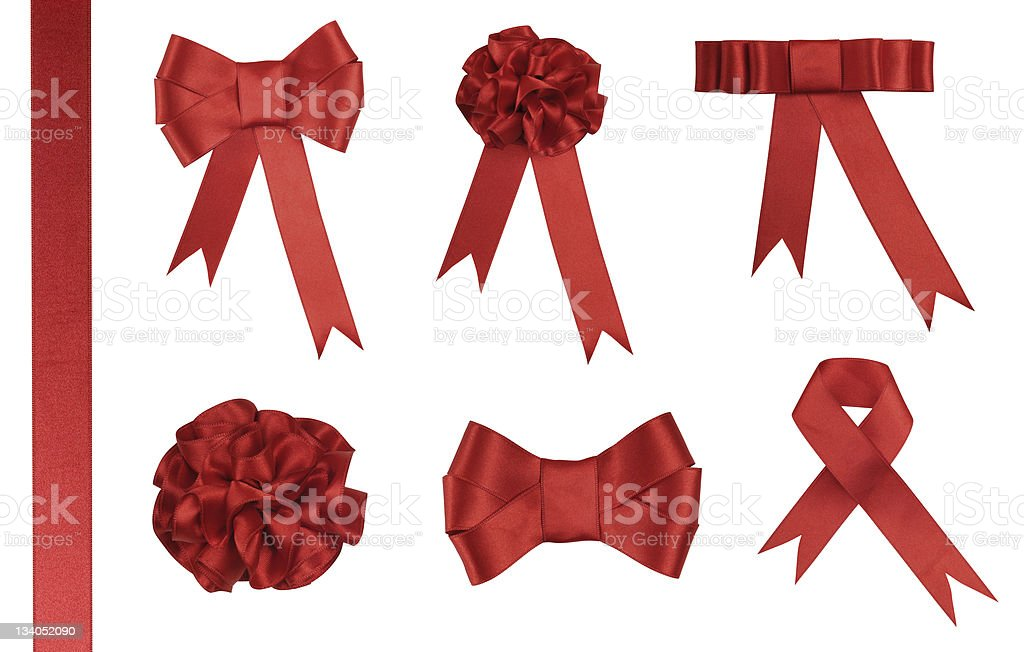 Red Ribbon Gift - Added clipping path stock photo