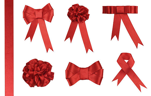 red ribbon gift - added clipping path - 剪輯路徑 個照片及圖片檔