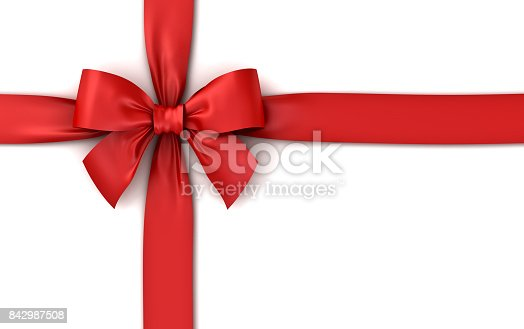istock Red ribbon gift bow isolated on white background with shadow . 3D rendering 842987508