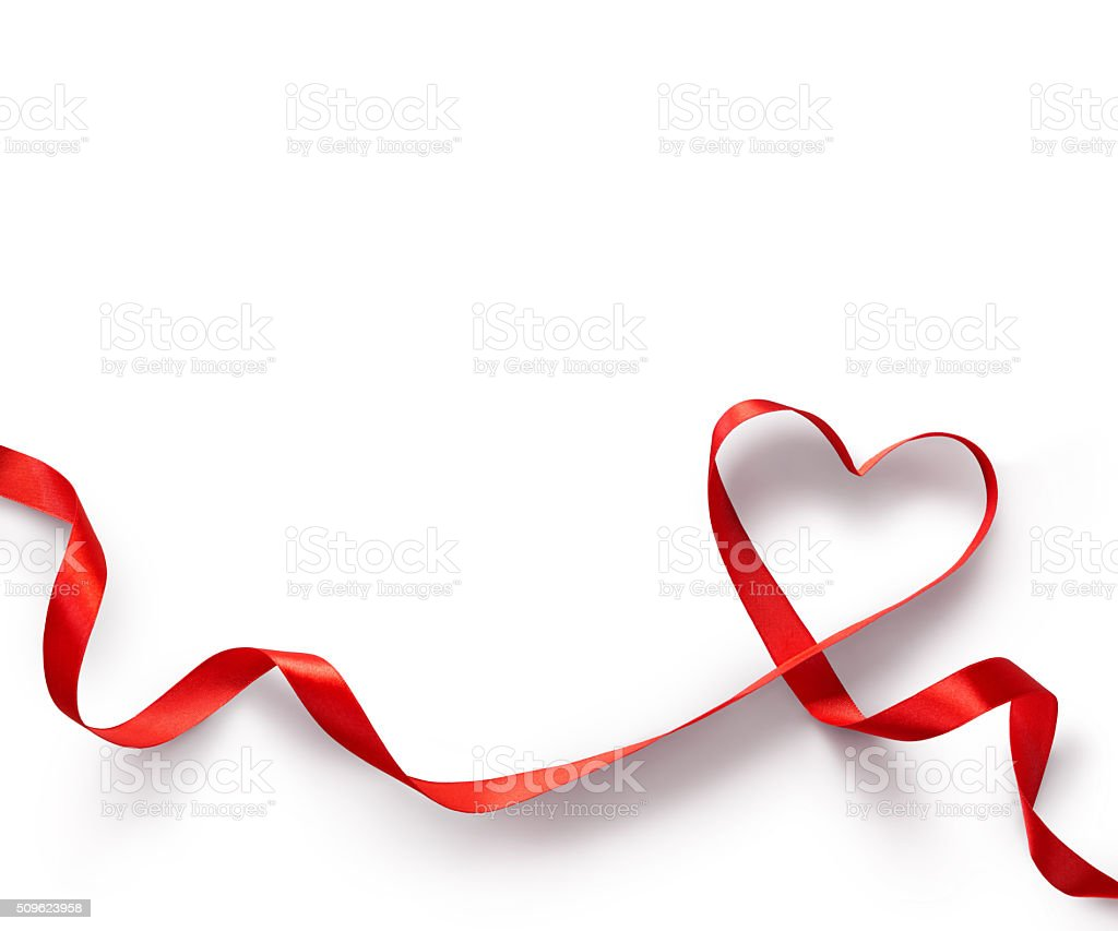 Red Ribbon Heart on white background. stock photo