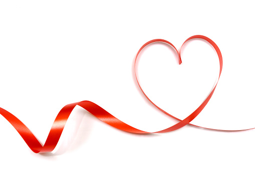 red ribbon heart shape isolated on white backgroundred ribbon heart shape isolated on white background