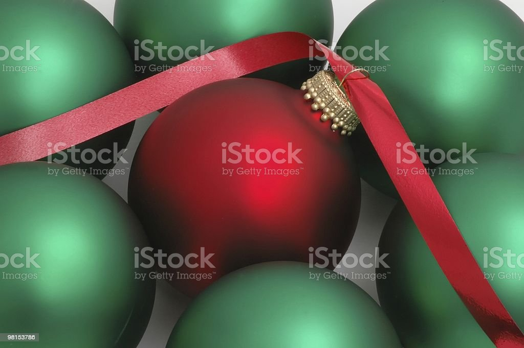 Red Ribbon in Chtrismas Ball royalty-free stock photo