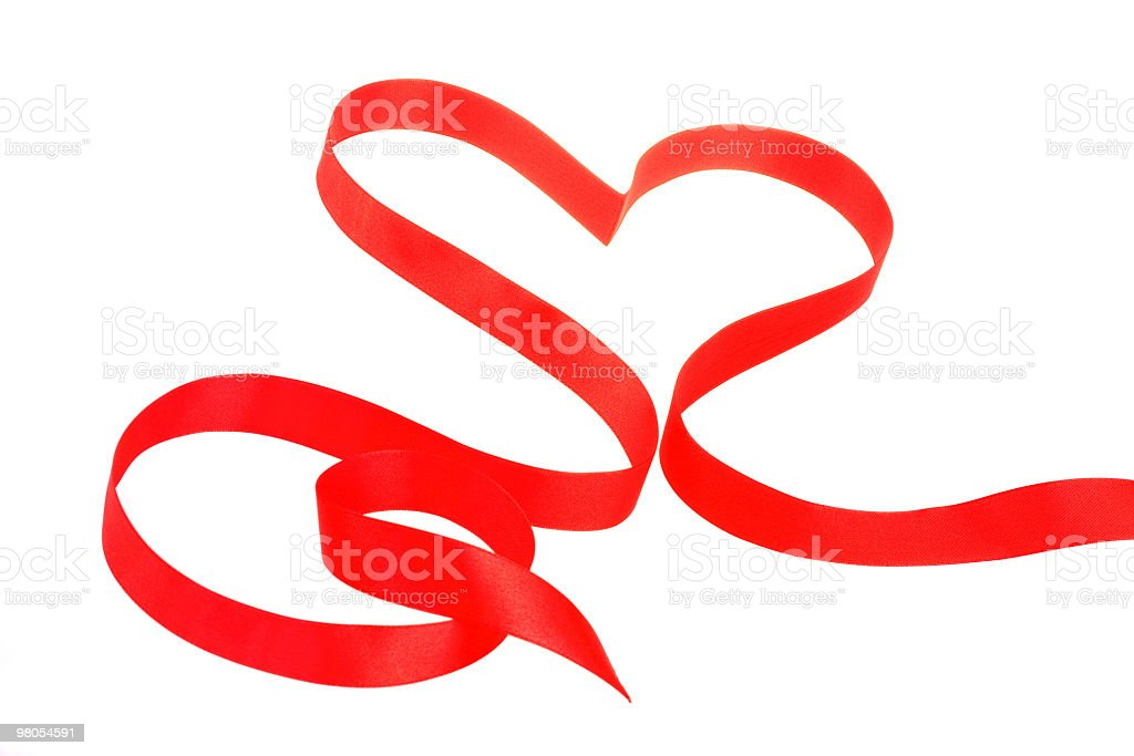 Red ribbon in heart shape royalty-free stock photo