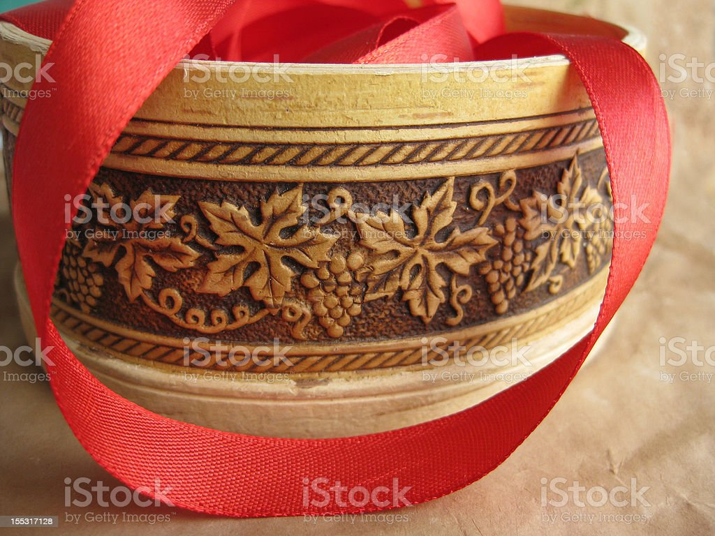 Red ribbon in small box royalty-free stock photo
