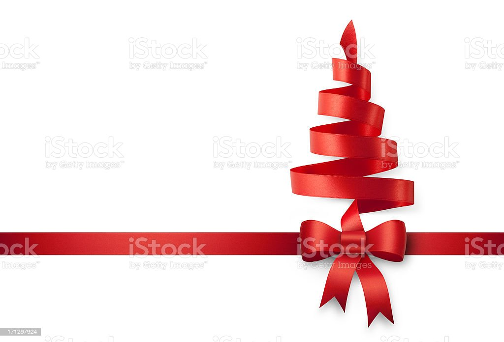 Red ribbon in the shape of a Christmas tree royalty-free stock photo